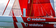 Team Vodafone Sailing. Simon Hull's record breaking 18 metre trimaran sailing at speed in Auckland's Waitemata Harbour.