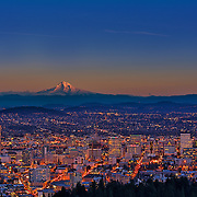 Mount Hood and the Portland skyline.