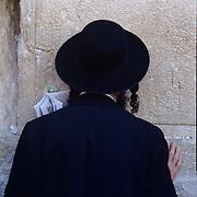 Chassidic man praying at the Kotel, holiest site in Judiasm, Jerusalem, Israel.