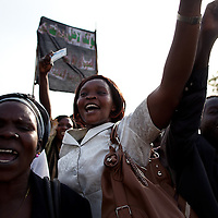 A church group celebrates at the end of the first day of voting in South Sudano Jan. 9, 2011.