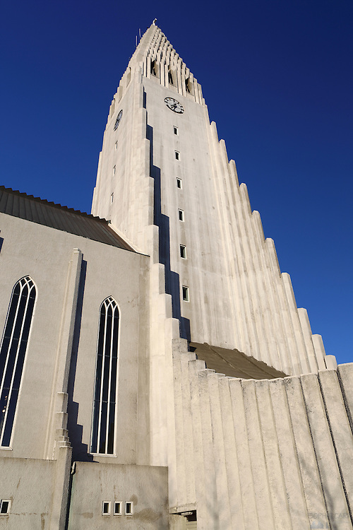 The wonderful Hallgrímskirkja, a striking landmark in central Reykjavik, Iceland. The church was designed by Guðjón Samúelsson in 1937 and is 74.5m high.