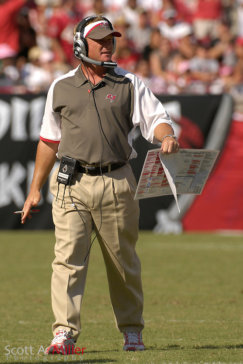 Oct. 14, 2007; Tampa, FL, USA; Tampa Bay Buccaneers coach Jon Gruden during his team's 13-10 win over the Tennessee Titans at Raymond James Stadium. ...©2007 Scott A. Miller