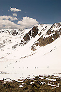 Beartooth Scenic Byway, Wyoming, Shoshone National Forest, skiers and snowboarders, opening day, Beartooth Pass, Wyoming