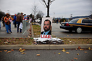 Ken Ward, a journalist from The Charleston Gazette, is depicted on a poster at a protest against Mountaintop Removal in front of the Department of Environmental Protection Agency in Charleston, West Virginia on Monday, December 7, 2009.