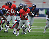 Ole Miss's Randall Mackey (1) runs at football practice a Vaught-Hemingway Stadium in Oxford, Miss. on Saturday, August 18, 2012.