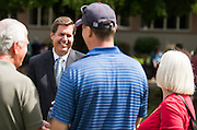 President Thayne McCulloh greets the Class of 2020 and their families. (Photo by Edward Bell)