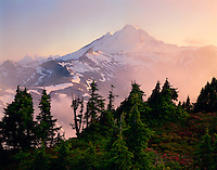 Mt. Baker, WA, Mt. Baker Wilderness Area, Sunset, Mist in the valley, Table Mt.