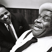 Blusman Willie Dixon, leans into a laugh while visiting Memphis, Tennessee. in the late 80's. Grammy award winning, Dixon, is perhaps best known as one of the most prolific songwriters of his time. He was born in Mississippi and later moved to Chicago, where he was very influential in shaping the Chicago blues.