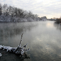 The Boise River at sunrise near the Americana Bridge in January.