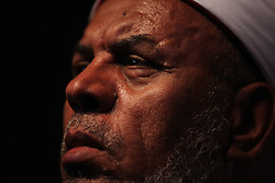A sheikh in the audience watches as speakers introduce Aboul Fotouh..