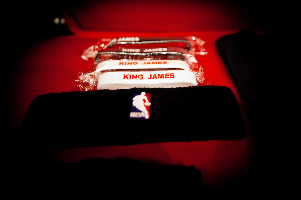 MIAMI, FL -- January 29, 2012 -- Wrapped King James bracelets and headband wait for Miami forward LeBron James on his bench in the Heat's locker room prior to their 97-93 win over the Chicago Bulls at American Airlines Arena in Miami, Fla., on Sunday, January 29, 2012.  (Chip Litherland for ESPN the Magazine)