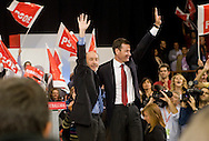 Meting of the opening of the election campaign of the Spanish Socialist Party (PSOE).Alfredo Perez Rubalcaba and Tomas Gomez.