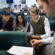 Kyung Min, from left, Anisha Patel, Ian McDaniels, Adam Paine. Class of 2015. Pandemic flu exercise. Bridge week.
