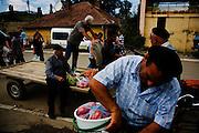 Scene at Sunday Market in Albanian section of Mitrovica, Kosovo.