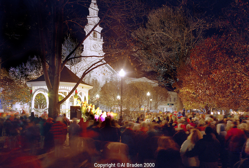 Christmas caroling  at United Church of Chirst on Central Square, Keene, New Hampshire.
