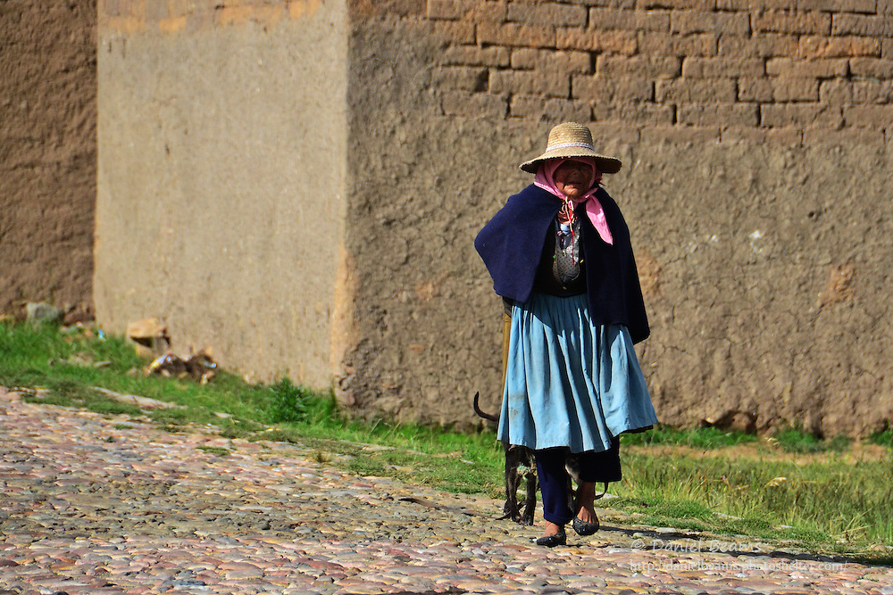 Quechua woman walking on the road near Vacas, Cochabamba, Bolivia