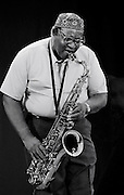 Black and White photograph of jazz saxophonist,AACM co-founder and member Fred Anderson by Chicago Jazz photographer Javet M. Kimble.
