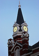 A photomanipulated, paint fx view of the clock tower of Brunswick Georgia's City Hall.