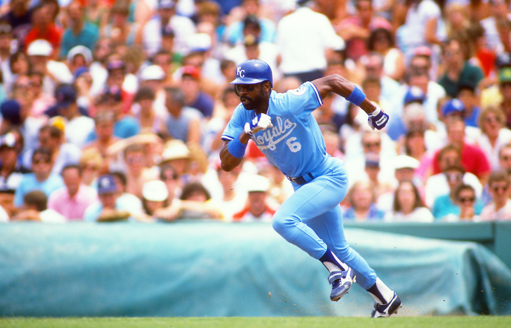 BOSTON- SEPTEMBER 1988:  Willie WIlson of the Kansas City Royals runs the bases during an MLB game against the Boston Red Sox at Fenway Park in Boston, Massachusetts during September, 1988.  Wilson played for the Royals from 1976-1990. (Photo by Ron Vesely)