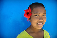 A young girl on Lae Lae island, Makassar, Sulawesi, Indonesia.