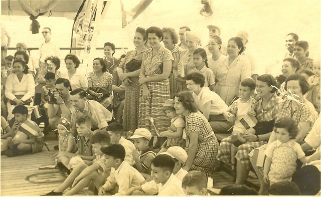 Mum, B, Mary, me returned to ceylon in 1951 by ship and this was a sports meet. <br />