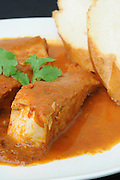 A serving of Haraime a North African jewish speciality of fish cooked in tomato puree
