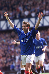 Neil McCann celebrates after scoring their third goal, during a Rangers v Dunfermline game in August 2000..