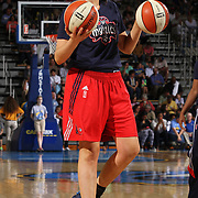 Washington Mystics Rookie Center Stefanie Dolson (31), seen carrying two basketballs prior to the start of the second half of a WNBA preseason basketball game between the Chicago Sky and the Washington Mystics Tuesday, May. 13, 2014 at The Bob Carpenter Sports Convocation Center in Newark, DEL