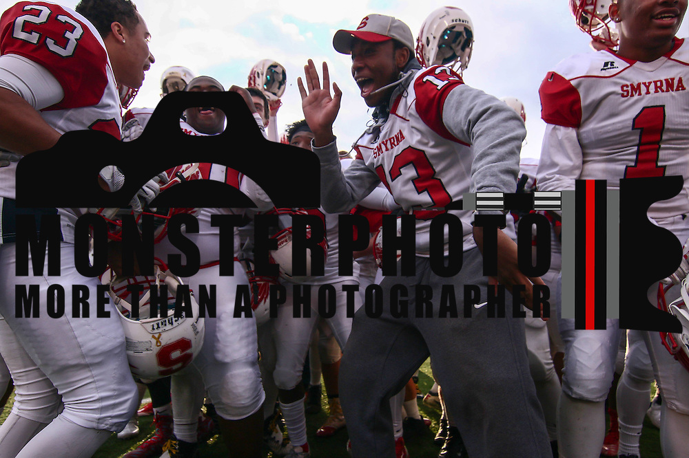 Smyrna (12-0) players dance after winning their second straight DIAA division one Football Championship defeating Top-seeded Middletown (11-1) 36-14 Saturday, Dec. 03, 2016 at Delaware Stadium in Newark.