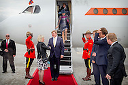 King Willem-Alexander and Queen Maxima of The Netherlands arrive with the government plane PH-KBX at Macdonald-Cartier International Airport in Ottawa, Canada, 27 May 2015. The King and Queen of The Netherlands bring an state visit from 27 till 29 may to Canada. COPYRIGHT ROBIN UTRECHT