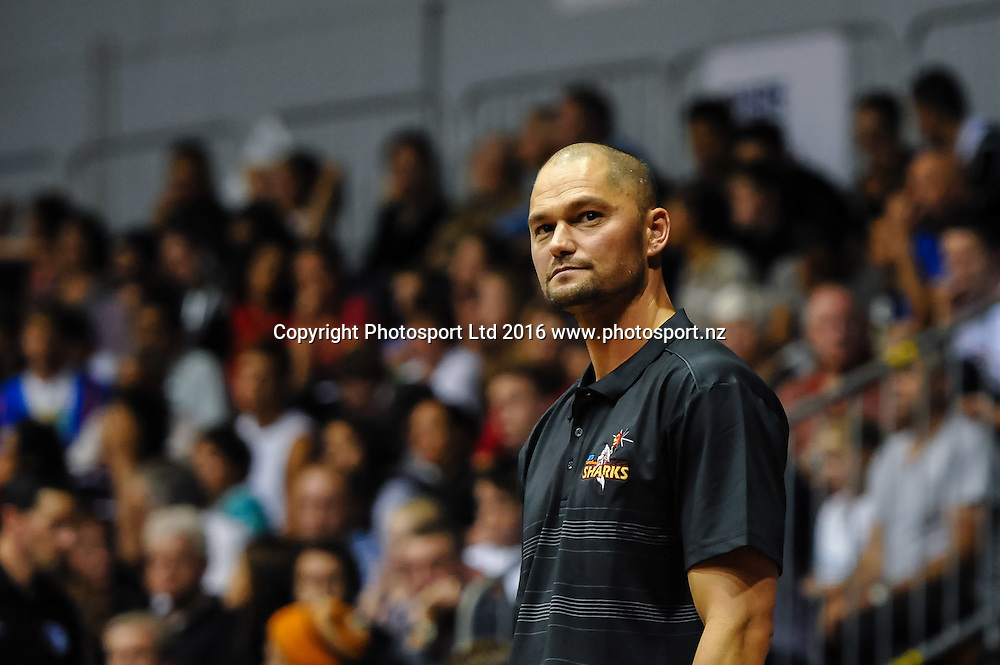 A dejected Judd Flavell Coach of the Southland Sharks during the NBL Basketball Match, Canterbury Rams V Southland Sharks, Cowles Stadium, Christchurch, New Zealand. 25th March 2016. Copyright Photo: John Davidson / www.photosport.nz