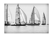 140714_ISON_Panerai_Classics<br /> Sandy Fielding's bermudan sloop, Strega (GBR7514T) and Ebsen Poulsson and Ed Dubois' Sparkman and Stephens, Firebrand (GBR612R), at the Panerai British Classic Week sailing regatta off Cowes, Isle of Wight. <br /> Picture date Monday 14th July, 2014.<br /> Picture by Christopher Ison. Contact +447544 044177 chris@christopherison.com