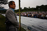 Crowds at the Potocari memorial center for the victims of the Srebrenica genocide in 1995. During the prayer.