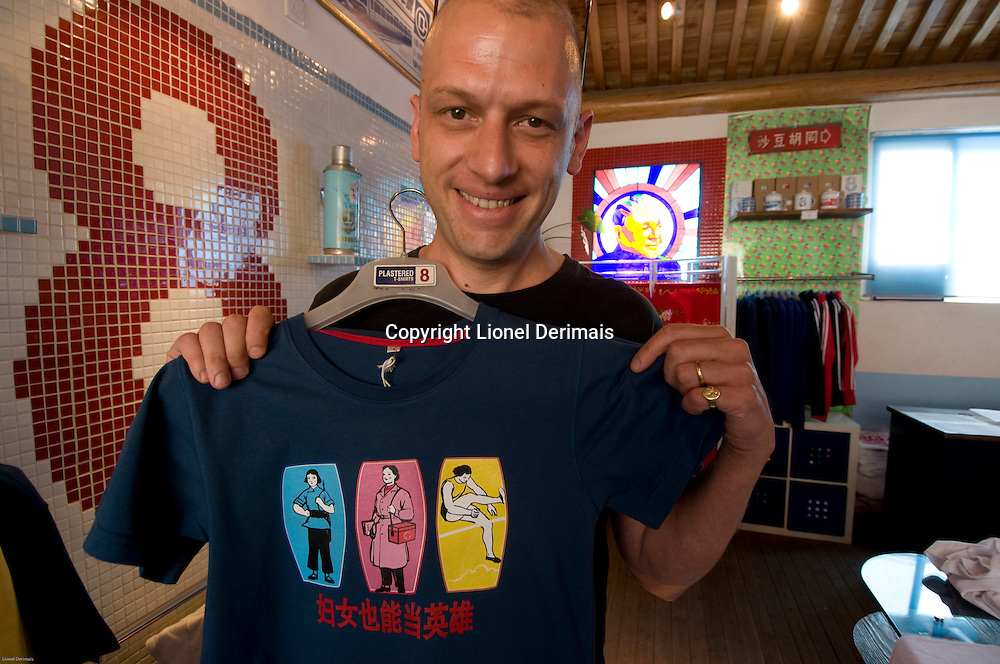 British-born Dominic Johnson-Hill, founder and designer of Plastered 8 T-shirts, photographed in his Nan Luo Gu Xiang store, Beijing, China.