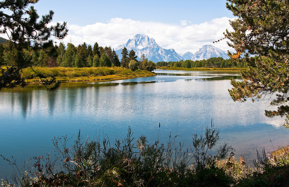 An evening view of the Snake River's Oxbow Bend. Grand Tetons National Park, Wyoming.