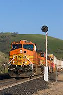 A BNSF intermodal train descends California's Tehachapi Mountains.