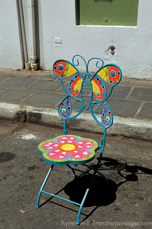 USA, Puerto Rico, San Juan. Artistic mosaic patio chair.