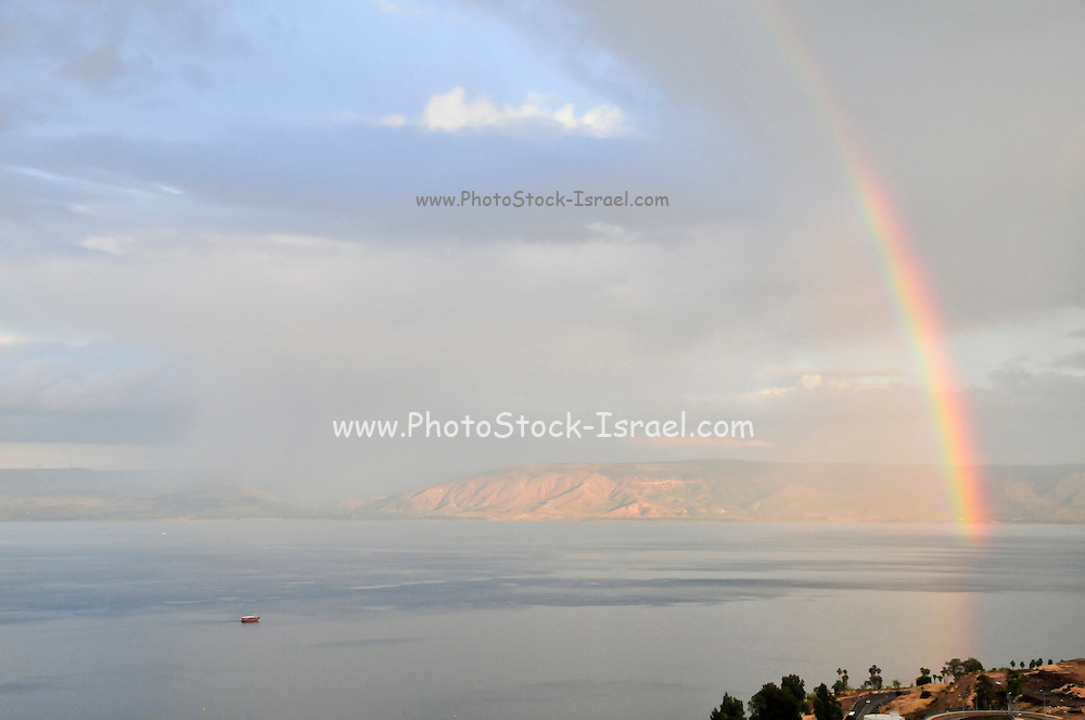 Israel, Tiberias, A rainbow on the Sea of Galilee