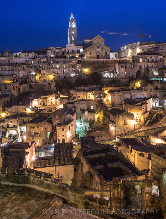 Night cityscape of Matera. Already UNESCO world heritage site, recently named European Capital of Culture for 2019, Matera is a city in the Region of Basilicata in the south of Italy.