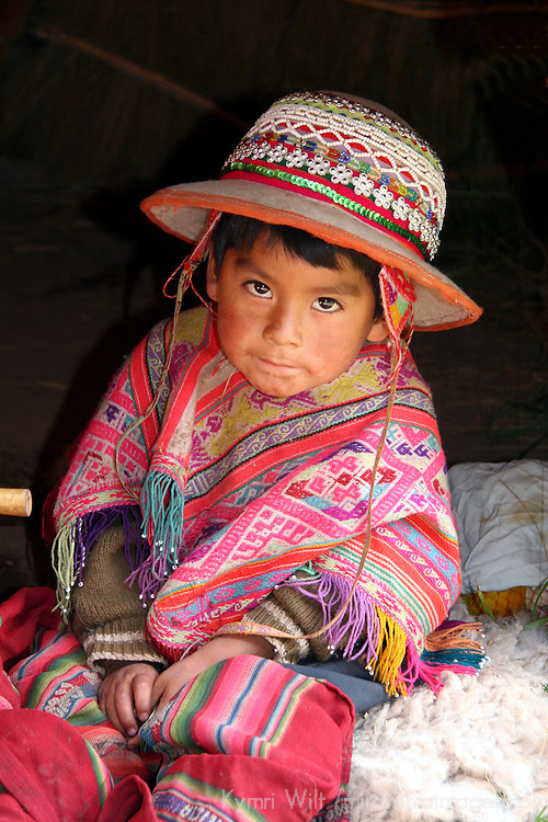 Americas, South America, Peru, Cusco. Young Peruvian boy in traditional dress.