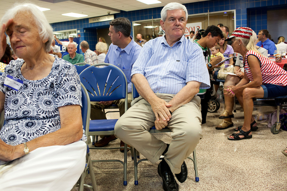Republican presidential hopeful Newt Gingrich listens during a fundraiser for the Linn County Republican party on Friday, August 5, 2011 in Tiffen, IA.