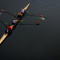 TAMPA, FL  -- Student rowers glide through the water near the Tampa Bay Rowing Club on the University of Tampa campus near the Cass Street Bridge in Tampa, Florida. (Chip Litherland for Bay Magazine)