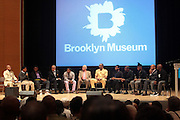 May 19-New York, NY:  (L-R) Dr. Khalil Gibran Muhammad, Director, The Schomburg Center, Panelists Brandon Golden, Kolade Adeyama, Michael Elam, Chris ' Kazi' Rolle, Rev. C. Herbert Oliver, Jamel Shabazz, Cory Smith, Divine Pryor, Jonathan Gardenhire, Kevin Powell, Bryonn Bain and Dr. Khalil Gibran Muhammad attend the Question Bridge: Black Male Blue Print Round Table moderated by Dr. Khalil Gibran Muhammad and hosted by Kevin Powell and held at the Iris and B.Gerald Cantor Auditorium in the Brooklyn Museum on May 19, 2012 in Brooklyn, New York. Question Bridge: Black Males is a transmedia art project that seeks to represent and redefine Black male identity in America. Question Bridge: Black Males was created by Chris Johnson and Hank Willis Thomas in collaboration with Bayeté Ross Smith and Kamal Sinclair. The Executive Producers are Delroy Lindo, Deborah Willis and Jesse Williams. (Photo by Terrence Jennings)