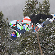 12/20/08 2:26:06 PM -- Breckenridge, CO, U.S.A. -- Snowboarder Daniel Friberg of Brigels, Switzerland competes at the inaugural Winter Dew Tour in Breckenridge, Co. on December 20, 2008. The four-day competition is the first of three stops on the tour that features freeskiing and snowboarding..(Photo by Marc Piscotty / © 2008)