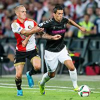ROTTERDAM - Feyenoord - FC Utrecht , Voetbal , Seizoen 2015/2016 , Eredivisie , Stadion de Kuip , 08-08-2015 , Speler van Feyenoord Rick Karsdorp (l) in duel met FC Utrecht speler Chris Kum (r)