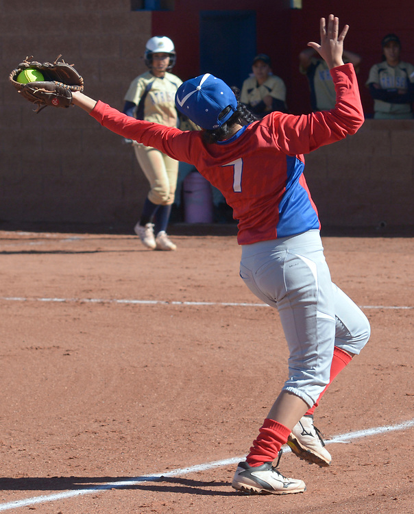 gbs040417g/SPORTS -- West Mesa's Eva Perez, 7 , catches a pop up in the second inning of the game against Atrisco heritage at West Mesa on Tuesday, April 4, 2017. (Greg Sorber/Albuquerque Journal)
