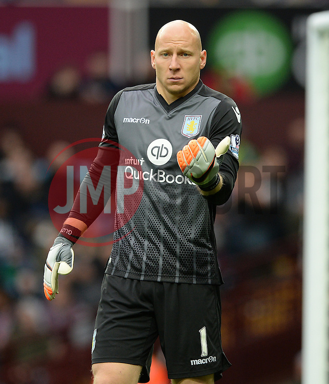 Brad Guzan of Aston Villa- Mandatory byline: Alex James/JMP - 07966 386802 - 24/10/2015 - FOOTBALL - Villa Park - Birmingham, England - Aston Villa v Swansea City - Barclays Premier League