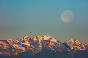 A gull flies over Mount Constance, a 7,756-foot (2,364-meter) mountain, as the full moon gets ready to set behind the Olympic Mountains in Washington state.