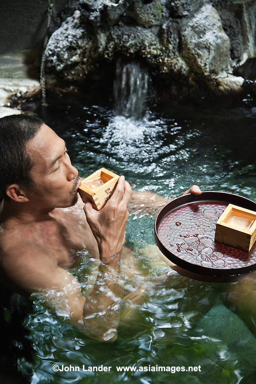Onsen or hot springs are a popular form of recreation in Japan.  A few onsen or baths have the unique custom of serving sake on little floating trays which can be drunk while soaking in the bath. Onsen come in many types and shapes, including outdoor rotenburo or notenburo and indoor baths.