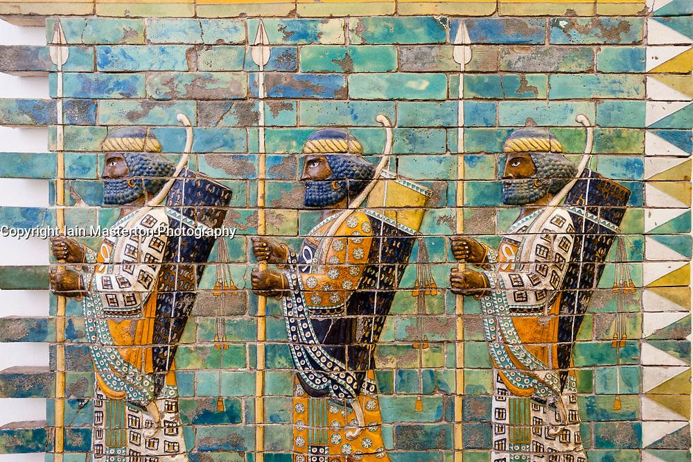 Museum Island, Pergamon Museum Ancient Assyrian ceramic frieze in Germany, Berlin